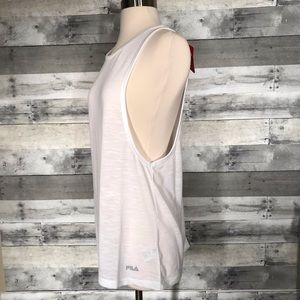 Fila Tank Top Open Sides White Athletic M